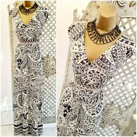 MONSOON 💋 UK L Paisley Print Open Back Stretch Jersey Maxi Dress ~ Free P&P ~