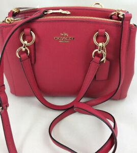 $350 Coach F57523 Mini Christie Carryall Satchel Handbag Crossbody Bright Pink