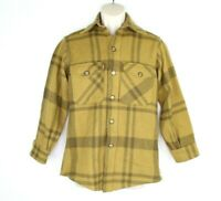 Vintage Woolrich Plaid Thick Flannel Button Up Shirt Sz Mens Small Brown Tan