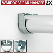 2 Wardrobe Rail Hanger Rod Socket Fitting Standard Support Tube Oval End Bracket