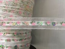 """2 yards white pink floral  organza with flat silver sequins trim 5/8"""""""