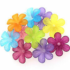 10 FROSTED LUCITE ACRYLIC 6 PETAL FLOWER BEADS 33mm Assorted Colour Mix