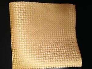 "New 10"" 100% Silk  Pocket Square Yellow Houndstooth"