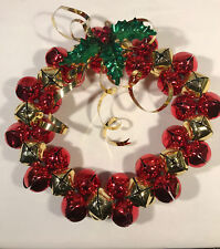 "Christmas 11"" Jingle Bell Wreath Metal Ribbon Holly Heavy Quality Red Gold"