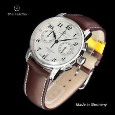 Zeppelin 42mm LZ 127 Graf Zeppelin German Made Chronograph Leather Strap Watch