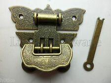 """Beautiful thick butterfly box hasp latch with """"lucky"""" lock,small box hardware"""