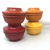 Vintage Tupperware Set Of 4 Harvest Colors Seal And Serve Bowls with Lids #1436