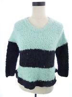 Womens M Sage Blue & Black Fluffy Nubby Fleece Thick Crop Sweater Medium