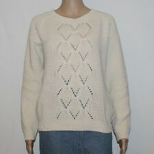 Ivory Knitted CLOCKHOUSE Long Sleeve Casual Jumper Sweater Cardigan Size M Boho