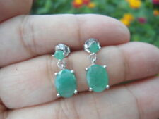 Natural EMERALD Sterling 925 Silver Dangling EARRINGS
