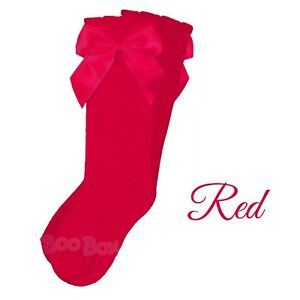 Baby Girls & Girls 3/4 Knee High Spanish Style Ribbon Bow Socks Socks 0-9 Years