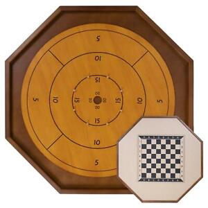 """Tournament Crokinole Board 30"""" Double-Sided Checkers Wood Game Set with Discs"""