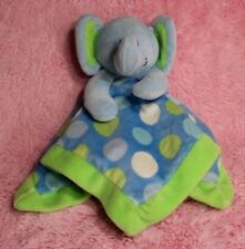 First Impressions Elephant baby security blanket blue green white polka dots