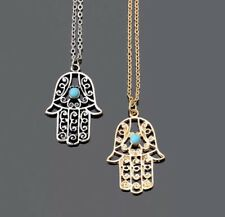 Silver Hamsa Necklace Hand of Fatima Pendant Boho Layering Necklace Turquoise
