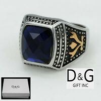 DG Men's Silver Stainless Steel,Stone-Cut Blue CZ,Ring Size 8 9,10,11,12 13 +BOX