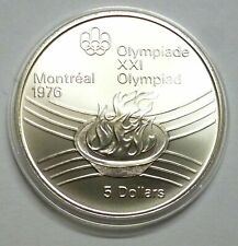 Canada 5 Dollars 1976 Silver coin UNC Olympic flame - Montreal Olympics Games