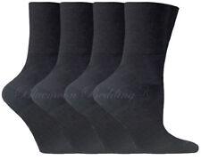12 Pairs Ladies Womens Diabetic Socks Non-elastic Cotton Gentle Grip Black