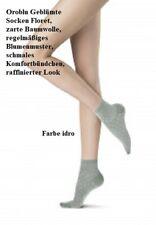 3 Pack Oroblu Geblümte Socken Floret, zarte Baumwolle, regelmäßiges Blumenmuster