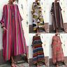 ZANZEA Women Batwing Stripe Long Shirt Dress Full Length Maxi Dress Midi Dress
