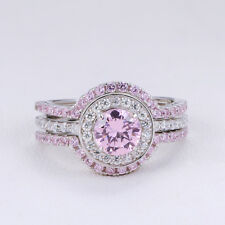Silver Wedding Engagement Ring Set 7# Newshe Pink Sapphire White Cz 925 Sterling