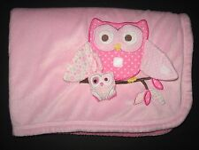 Babies R Us Pink Owls Baby Blanket Mom Baby Sherpa Back 30x40 2011 Toys R Us