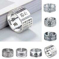 Silver Ring Lection Buddhist Scripture Adjustable