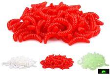 50Pcs Maggot Grub Soft Fishing Lure Hooks Smell Worms Glow Shrimps Fish Lures
