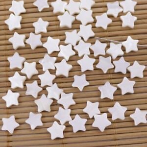 50 PCS 8mm White Mother of Pearl Star Shell Full Hole MOP Loose Beads