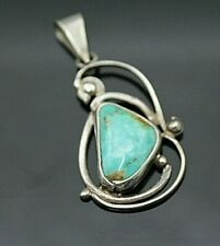 MEXICO BLUE TURQUOISE ORNATE STERLING SILVER LARGE PENDANT