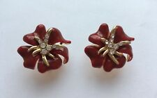 Beautiful Red and Gold Flower Diamante Earrings Stud For Pierced Ears UK E108