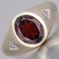 14 K Solid Yellow Gold Natural Gem Stone Garnet & Diamond Men's Ring Us Size 8 9