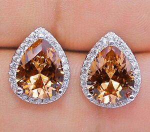 4CT Padparadscha Sapphire & Topaz 925 Sterling Silver Earrings Jewelry