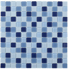 Sample Glass Mosaic Tile Sheet Montreal Mix Of Clear And Matte Blue