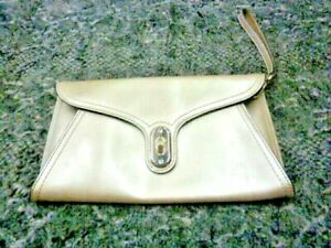 KAREN MILLEN CLUTCH PATENT PEARL SILVER SHINY TURNLOCK LEOPARD LINED PARTY BAG