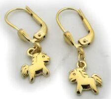 Kinder Ohrringe Ohrhänger Pferd groß 333 Gold Glanz Gelbgold Qualität Pferdchen