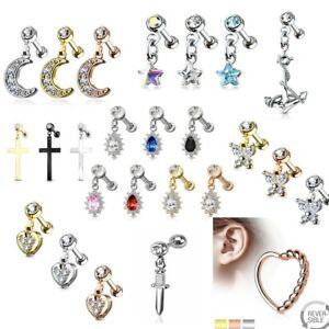 Dangle CZ 16g Cartilage Upper Ear Stud Earring Helix Bar Choose Design & Colour