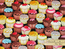 Sweet Cafe Cup Cake Cupcake Frosting Dessert Fabric  by the 1/2 Yard  #C5993