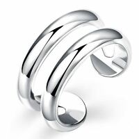 *UK* 925 Silver Plt Adjustable Open Double Line Ring Statement Band Thumb Wrap