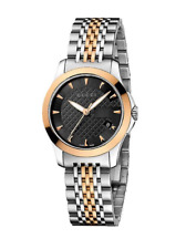 df709a5d26c New Gucci G-Timeless Black Dial Two Tone Rose Gold Steel YA126512 Ladies  Watch