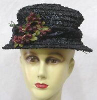 Vintage Ladies Hat Black Straw Millinery Berries on Front 1950s