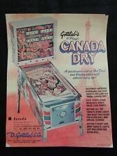 Flyer Publicité Canada Dry Flipper Pinball Gottlieb collection jeux café