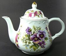 VINTAGE ARTHUR WOOD STAFFORDSHIRE TEA POT TEAPOT PANSY FLOWERS ENGLAND 6452 W1-6
