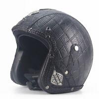 Vintage Motorcycle Helmet Open Face Half 3/4 Leather Jet Helmet Cruiser Scooter