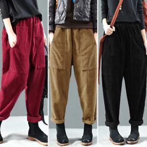 Womens Elastic High Waist Pants Casual Loose Corduroy Straight Leg Trousers Plus