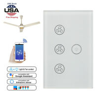WiFi Smart Ceiling Fan Light in-Wall Switch Touch Panel For Google Home Alexa US