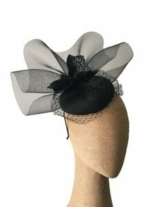 Morgan & Taylor Black Beret with Crinoline Ruffle and Leaves