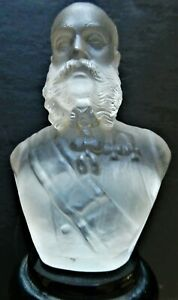 Kaiser Wilhelm 1st Black & Clear Glass Statue. He's Got The Chops!