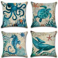 Sea Animal Printed Cotton Linen Cushion Cover Throw Pillow Case Decoration