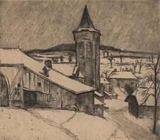 JULIUS ROSENBAUM Signed Etching VILLAGE IN WINTER c1920 GERMAN EXPRESSIONISM