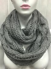 INFINITY STYLE SCARF KNITTED BULKY DESIGN305 GRAY